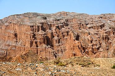 Rock formation in the Taklamakan Desert near Kuche, Xinjiang, China, Asia