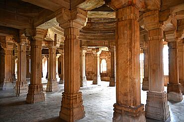 Pillared prayer hall inside 15th century Sahar ki Masjid Mosque, UNESCO World Heritage Site, Champaner-Pavagadh Archaeological Park, Gujarat, India, Asia