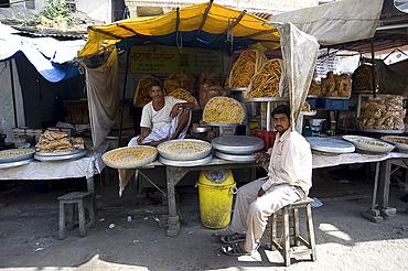 Namkeen (savoury snacks) stall, Amber, Rajasthan, India, Asia