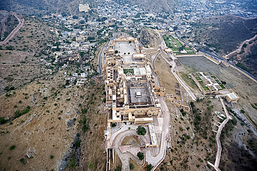 Amber Palace and village of Amber in the Aravali Hills, Rajasthan, India, Asia