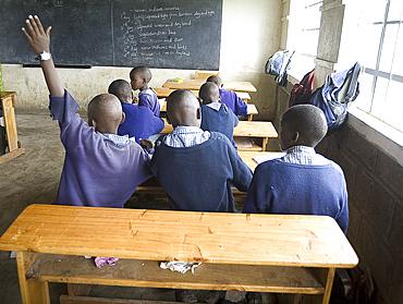 Eager schoolboys working in new school classroom, Langalanga Primary School, Gilgil district, Rift Valley, Kenya, East Africa, Africa
