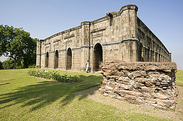 The 16th century Great Golden Mosque (Bara Darwaza) in Gaur, once one of India's great cities, West Bengal, India, Asia