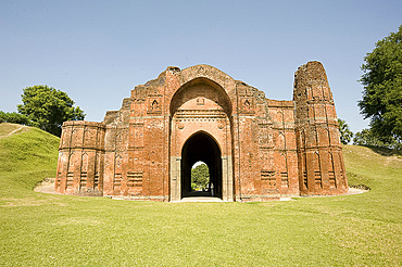 Entrance to the 16th century Great Golden Mosque (Bara Darwaza) in Gaur, once one of India's great cities, West Bengal, India, Asia