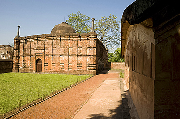 Medieval red brick Qadam Rasul mosque dating from 1531, and Fath Kahn's tomb, Gaur, West Bengal, India, Asia