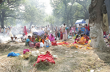 Villagers waking in the early morning having camped overnight at the Sonepur Cattle Fair, Bihar, India, Asia
