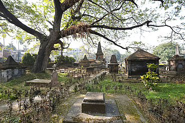 The 250 year old Dutch cemetery at Chinsurah, run by the Archaeological Survey of India, near Hugli, West Bengal, India, Asia