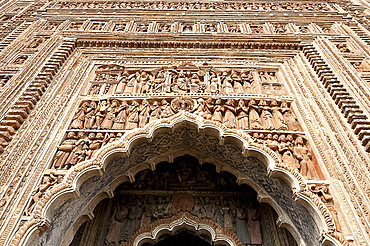 Carved rekha style facade of the 19th century Prataspeswar terracotta temple, built in 1849 in the temple complex, Kalna, West Bengal, India, Asia