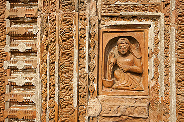 Detail of carved rekha style facade of the 19th century Prataspeswar terracotta temple, built in 1849, Kalna temple complex, West Bengal, India, Asia