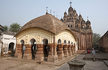 Lalji Mandir dating from 1739 with its 25 steeples, in terracotta temple complex, Kalna, West Bengal, India, Asia