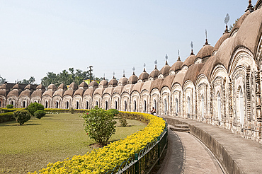 Outer ring of 108 Shiva temples built in two concentric circles by Maharaja Teja Chandra Bahadur in 1809, Kalna, West Bengal, India, Asia