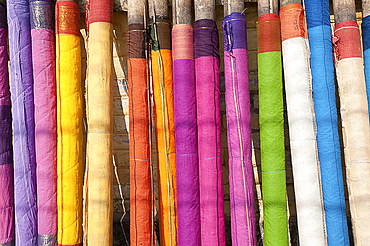 Sari lengths of brightly coloured cotton, hand woven on village looms, Kalna, West Bengal, India, Asia