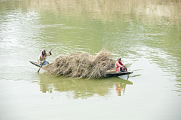 Boatmen paddling wooden boat laden with straw across the River Hugli (River Hooghly), rural West Bengal, India, Asia