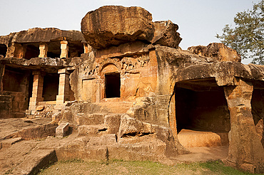 Carving on one of the 18 Udayagiri caves, residences for Jain monks in the time of King Kharavela 2000 years ago, Bhubaneshwar, Orissa, India, Asia
