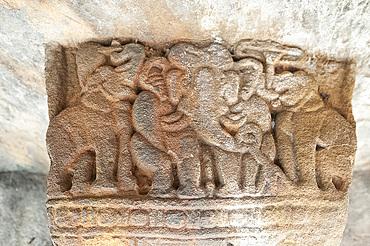 Detail of carving inside one of the 18 Udayagiri caves, used as residences for Jain monks 2000 years ago, Bhubaneshwar, Orissa, India, Asia
