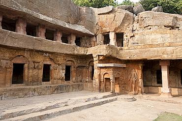 Ranigumpha, cave number 1 of Udayagiri caves, ornately carved, once used as meeting place for Jain monks, Bhubaneshwar, Orissa, India, Asia
