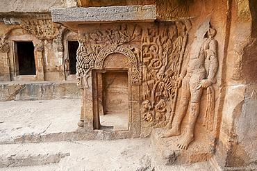 Ornate carving in Ranigumpha, cave number 1, Udayagiri caves, used as meeting place for Jain monks, Bhubaneshwar, Orissa, India, Asia