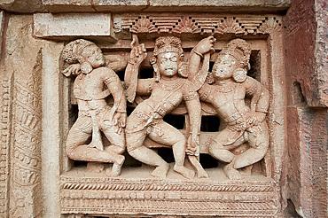 Beautifully carved window screen in the Parasurameswar Hindu temple dedicated to Lord Shiva, Bhubaneshwar, Orissa, India, Asia