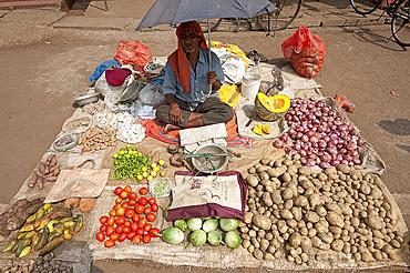 Village vegetable seller, Bhubaneshwar district, Orissa, India, Asia