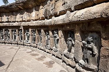 Some of the 64 yoginis in the 9th century hypaethral Yogini Temple, worshipped for assisting goddess Durga, Hirapur, Orissa, India, Asia