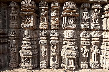 Ornate erotic carvings on Konarak Sun temple, UNESCO World Heritage Site, Konarak, Orissa, India, Asia
