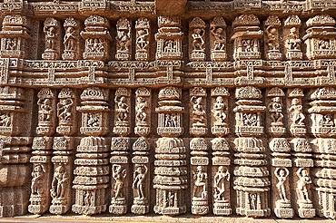 Ornate erotic carvings on 13th century Konarak Sun temple,  UNESCO World Heritage Site, Konarak, Orissa, India, Asia