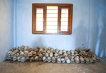 Human skulls, hunted by Konyak tribal men, kept in village community centre as a museum to the tribe's cultural past, Chingnyu, Nagaland, India, Asia