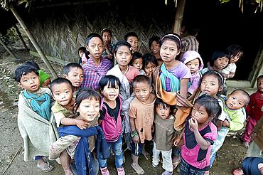 Naga children of the Konyak tribe, Longhwa village, Nagaland, India, Asia