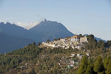 Tawang Buddhist monastery, Himalayan hills beyond, Tawang, Arunachal Pradesh, India, Asia