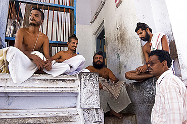 Four Dikshitar priests of the Chidambaram temple, considered the foremost amongst the devotees of the Lord Siva, Cuddalore District, Tamil Nadu, India, Asia