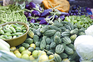 Bitter gourds and mixed vegetables on roadside stall, Gondal, Gujarat, India, Asia
