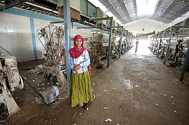 Female factory worker managing machinery in cotton processing factory, Rajkot district, Gujarat, India, Asia