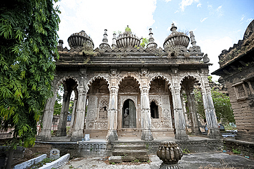 One of the ornately carved 18th century stone mausoleums belonging to the Babi dynasty, Tombs of Babi Kings, Junagadh, Gujarat, India, Asia