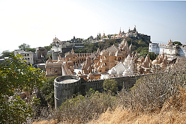 Sacred site of Shatrunjay, containing 863 Jain temples considered holiest of all pilgrimage places by Jains, Palitana, Gujarat, India, Asia