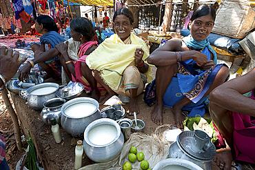 Smiling Mali tribeswomen with gold noserings selling yoghourt from metal pots in Mali weekly tribal market, Guneipada, Orissa (Odisha), India, Asia