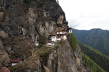 Taktsang Palphug Monastery (Tiger's Nest monastery), a prominent sacred Buddhist site clinging to rock at 3120 metres, Bhutan, Himalayas, Asia