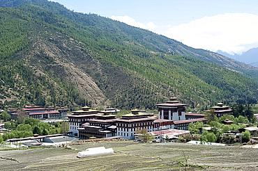Thimpu dzong (monastery) buildings, Thimpu, Bhutan, Asia