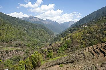 View through farmland clinging to the Himalayan foothills towards China from Wangdue Phodrang district, Western Bhutan, Himalayas, Asia