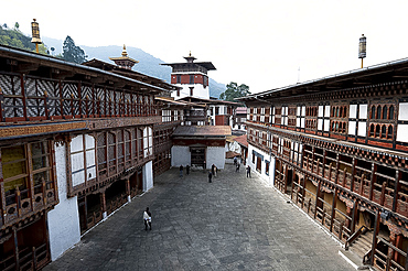 Inner courtyard in Trongsa Dzong, Bhutan's largest monastery fortress, established in 1543 overlooking the Mangde river gorge, Bhutan, Asia