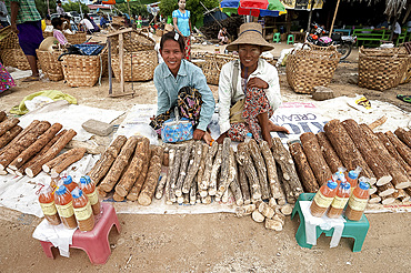 Women selling thanaka sticks, to be ground into paste to wear on the face as a decorative and protective mask, Sagaing Division, Myanmar (Burma), Asia