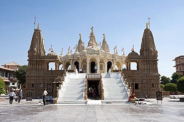 The carved white marble Jain Swaminarayan temple, Gondal, Gujarat, India, Asia