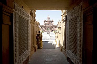Entrance to the Jain Swaminarayan temple, Gondal, Gujarat, India, Asia