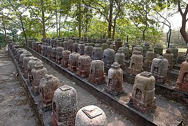 Stone votive stupas found at the site of 5th century Ratnagiri monastery by the Archaeological Survey of India, Ratnagiri, Odisha, India, Asia