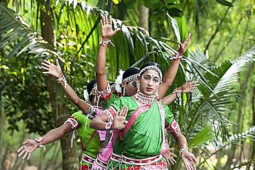 Young boys performing Gotipua dance, the traditional folk dance of Odisha inspired by Hindu gods, Lords Jagannath and Krishna, Odisha, India, Asia