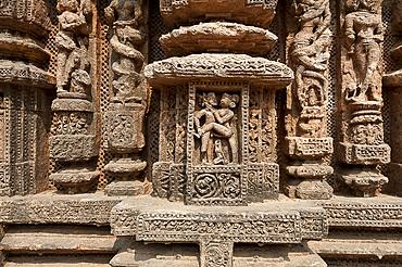 Erotic stone carved work on Konark Sun Temple (Black Pagoda), 13th century Hindu temple built as a massive chariot for the sun god Surya, UNESCO World Heritage Site, Konarak, Odisha, India, Asia