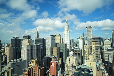 Manhattan skyscrapers inclucing the Empire State Building and Chrysler Building, Manhattan, New York City, New York, United States of America, North America