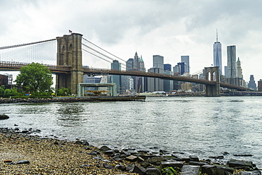 Brooklyn Bridge and Lower Manhattan skyscrapers including One World Trade Center from Brooklyn Bridge Park, New York City, United States of America, North America