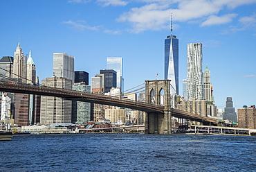 Brooklyn Bridge and Lower Manhattan skyscrapers including One World Trade Center, New York City, New York, United States of America, North America