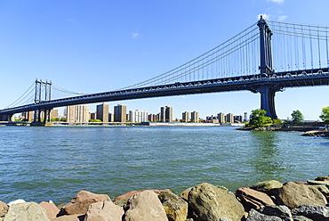 Manhattan Bridge spanning the East River, New York City, United States of America, North America