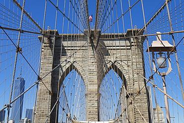 Brooklyn Bridge detail, Brooklyn, New York City, New York, United States of America, North America