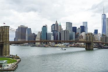 High angle view of Brooklyn Bridge and Lower Manhattan skyline, New York City, New York, United States of America, North America